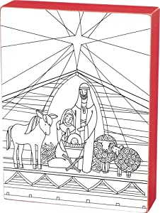 Primitives by Kathy Christmas Colorbook Color Sign, Nativity