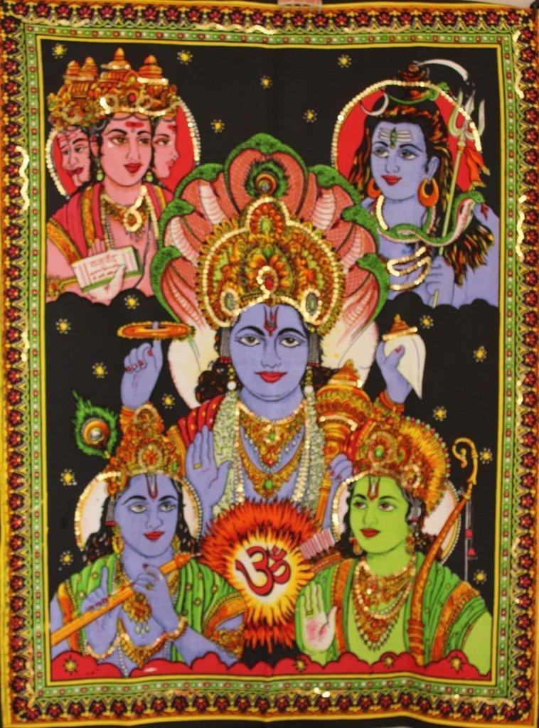 Sophia Art Handmade dea cotone poster Panchadev –  Brahma, Vishnu, Shiva, Rama and Krishna Tapestry con paillettes work at the Top Tapestry poster