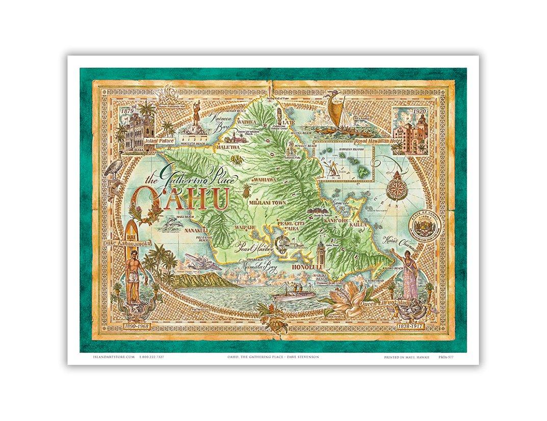 Amazon.com: Map of Oahu, The Gathering Place - Vintage Hawaiian ...