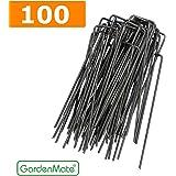 Gardenmate 100 Picchetti Per Telo Pacciamatura Per Erbacce Ad U In Acciaio 150Mm Lunghezza Diametro 2,3Mm