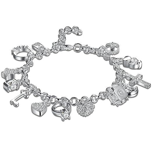 Amazon 925 sterling silver plated fashion women 13 charm 925 sterling silver plated fashion women 13 charm pendant beautiful bracelet aloadofball Gallery