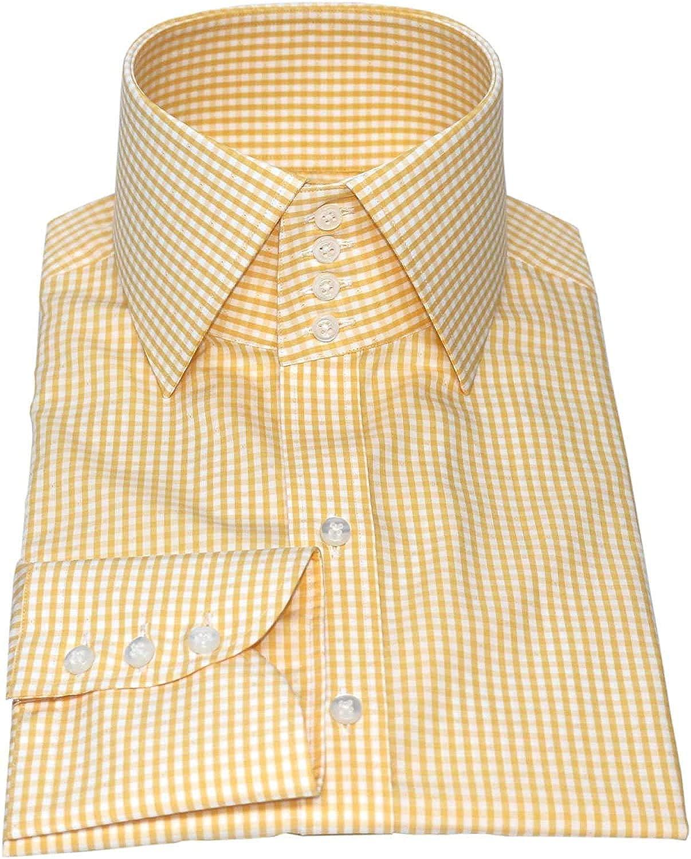 WhitePilotShirts Camisa de Cuello Alto para Hombre, diseño de Cuadros, Color Amarillo, 4 Botones, 100% algodón Italiano, Estilo Vintage: Amazon.es: Ropa y accesorios