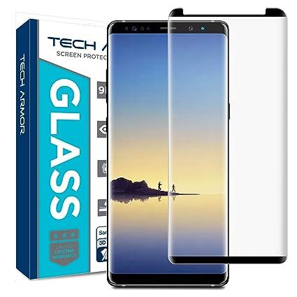premium selection 946cf 91da4 Tech Armor Samsung Galaxy Note 8 Premium 3D-Edge HD Clear Ballistic Glass  Case-Friendly Screen Protector (Black) [1-Pack]