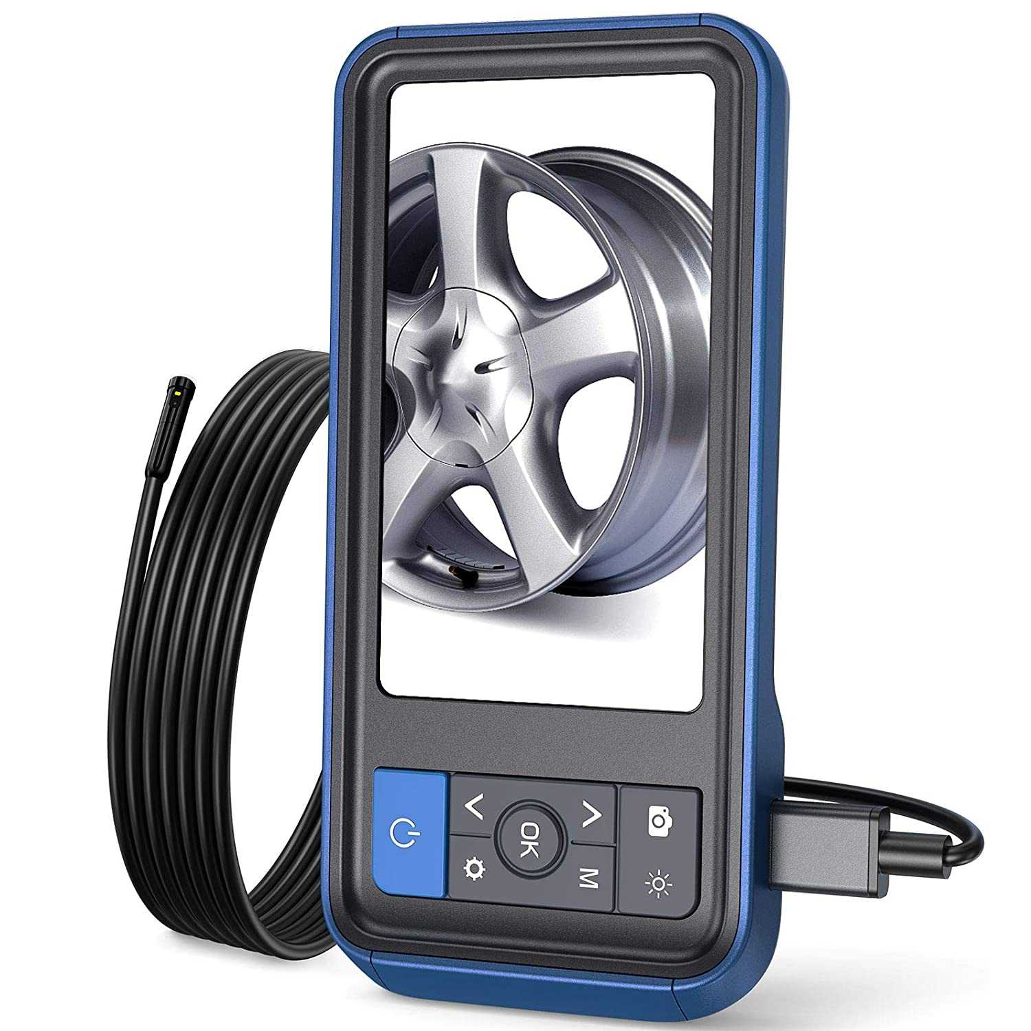 Teslong Inspection Camera, 8MM Dual Lens 4.5 inches IPS Screen Endoscope-Borescope with 32GB Card, 16.4ft Waterproof Cable, HD Display Screen, 6 LED Lights, IP67 Waterproof