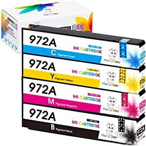 Miss Deer 972A Compatible Ink Cartridges Replacement for HP 972 972A,Work with PageWide 377dw, PageWide Pro 477dn, 477dw 577dw 577z 552dw 452dn 452dw Printers, 4 Pack(1BK 1C 1M 1Y)