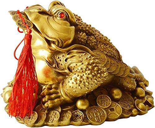 LuckyBuddha Fengshui Products Wealth Frog Statues,Brass Frog Figurines and Sculptures for Home Decor,Lucky Decorations XX-Large