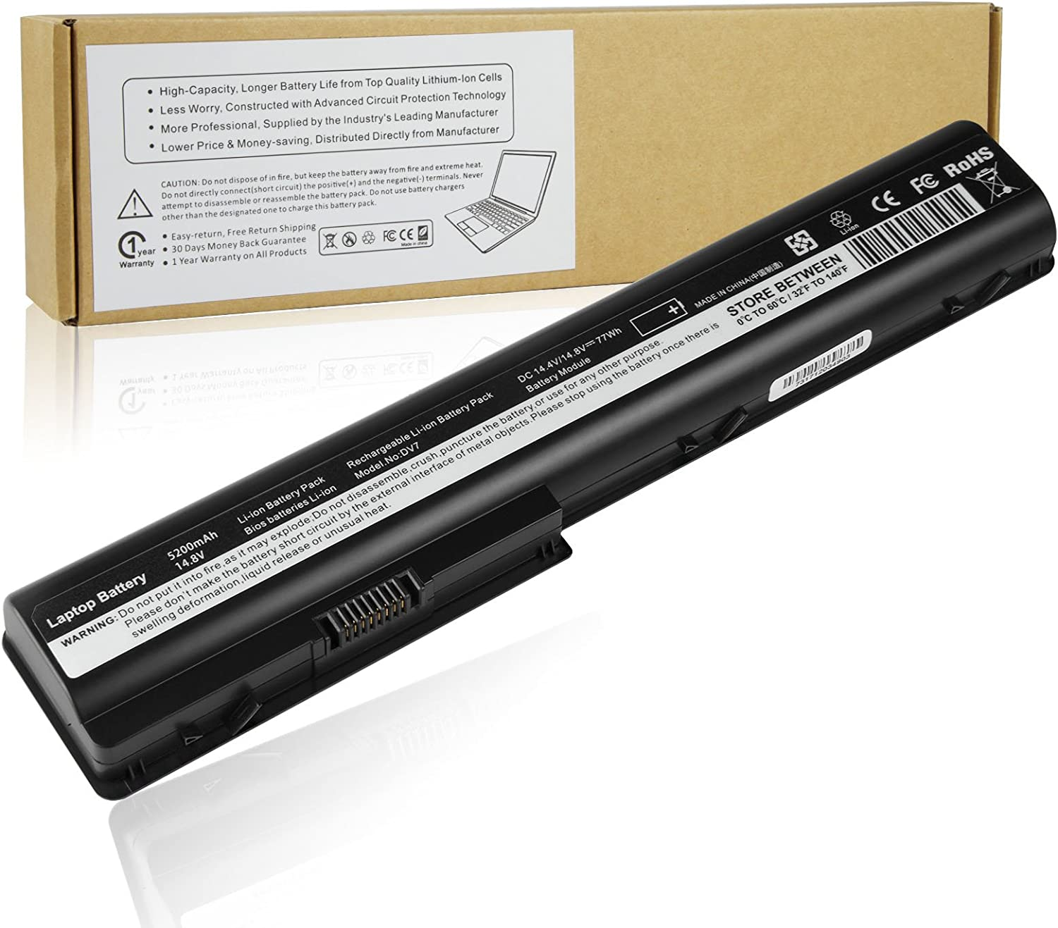 Futurebatt 8Cell Laptop Battery for HP Pavilion dv7 dv7t dv7t-1000 dv7z dv7z-1000 dv7-3150sg dv7-3152ca dv7-3153ca dv7-3155eb etc, DV8 DV8t HDX18t 464059-141 480385-001 Notebook