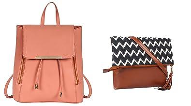 6ba553504c2c Lychee Bags Girls Pack of 2 PU   Canvas Peach Backpack   Black-White ...
