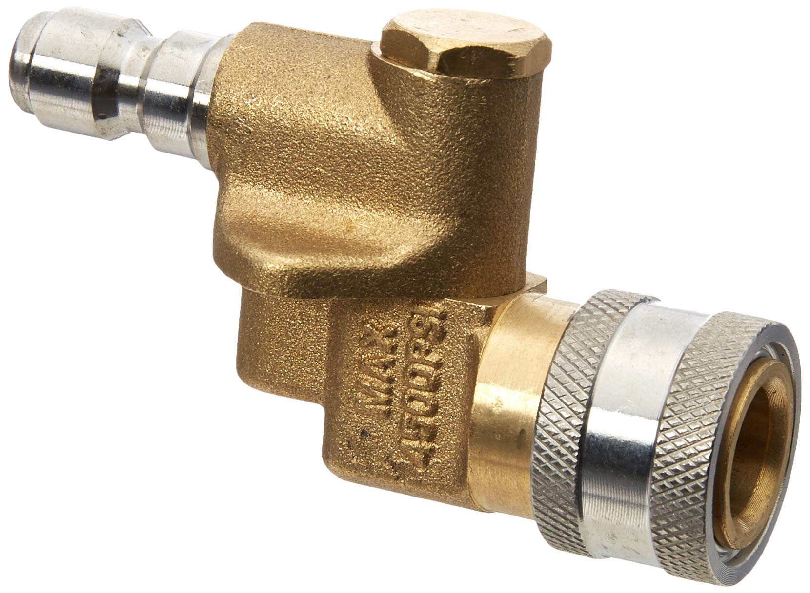 AR North America PW-QC14PIVOT Pressure Washer Pivot Coupler Nozzle Adaptor of 1/4'' & Quick Connect Fits Most Lances, Spray Guns & Accessories, Brass