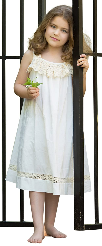 ebcab30c41f3 Amazon.com: Strasburg Children Girls Beach Dress Summer Dresses Lace White  Ivory Flower Girl: Clothing