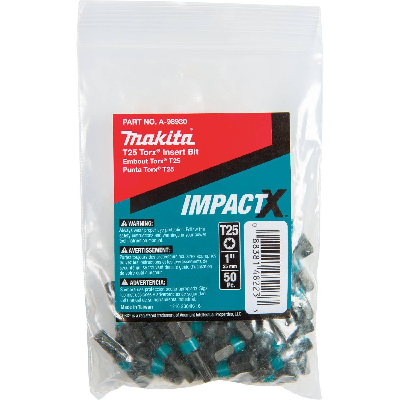Makita A-98930 Impactx T25 Torx 1″ Insert Bit, 50 Pack, Bulk by Makita