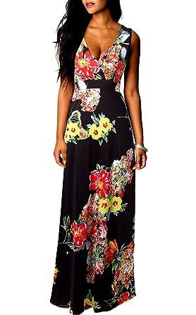 Vestiti Donna Eleganti Estivi Vintage Stampato Floreali Mare Hippie Senza  Maniche V Scollo Vita Alta A 0bf9162c114