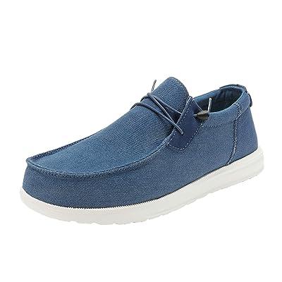 Bruno Marc Mens Linen Canvas Stretch Loafer Shoes