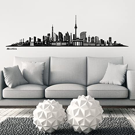 Wandkings Skyline pared – Adhesivo decorativo para pared en negro – TU Ciudad A Elegir), Negro, Berlin (Design B)