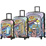 "Mia Toro ITALY Jozza Airplane Hardside Spinner Luggage Set - 3 Piece [20"", 24"" & 28""]"