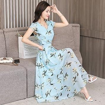 91ce43977927d0 GUO Women 'S Short Sleeve Tail Print Kleid Chiffon Kleid Sommer Dünne Dünne  Frauen'