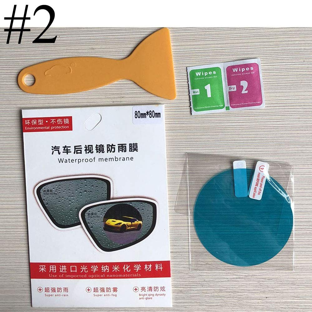 BENBW 1Set Car Rearview Mirror Protective Film Anti-Fog Protective Film Anti-Glare Anti-Scratch Rainproof (with Scraper and Alcohol pad) by BENBW (Image #3)