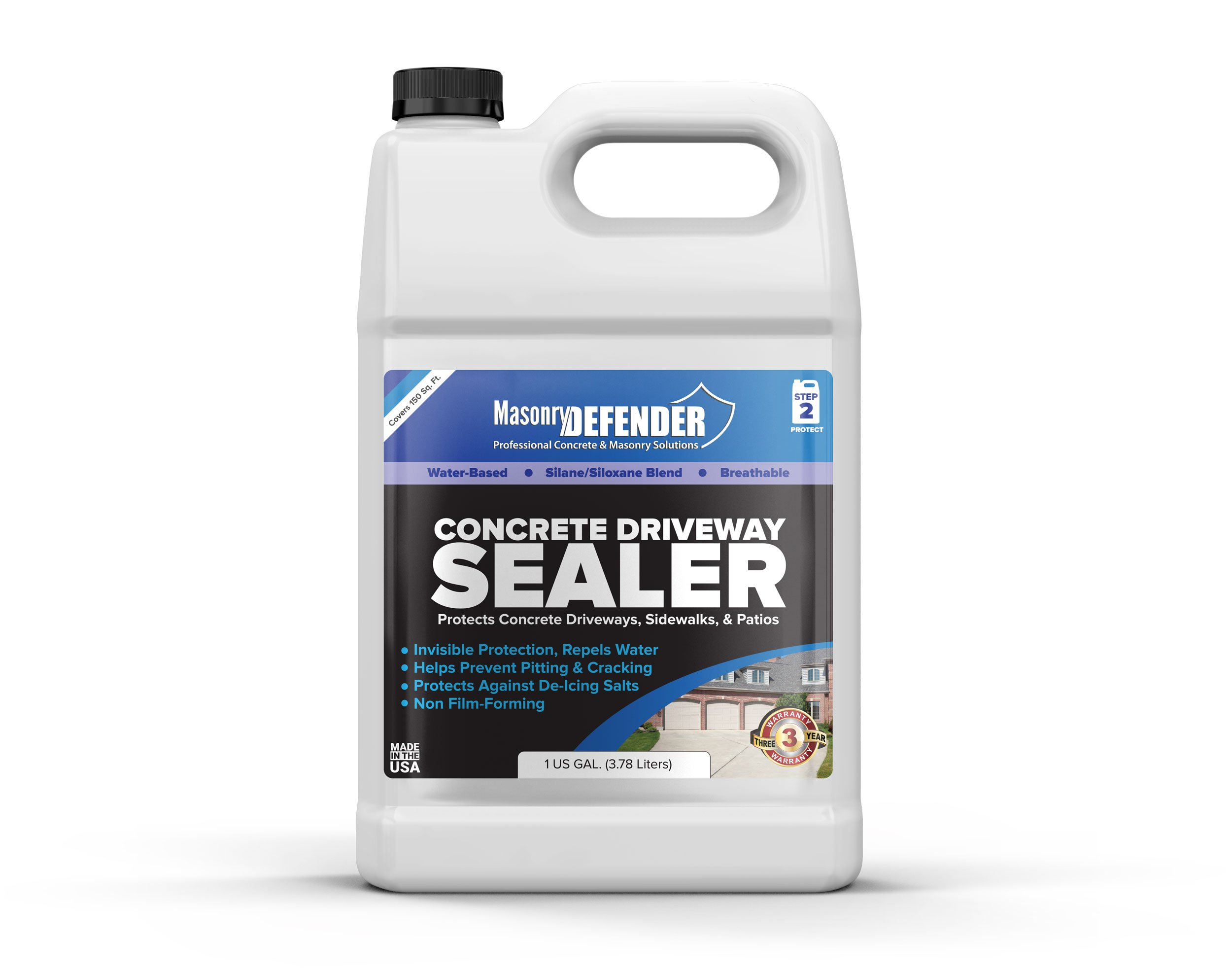 MasonryDefender 1 Gallon Penetrating Concrete Sealer for Driveways, Patios, Sidewalks - Clear Water-Based Silane Siloxane Sealer Water Repellent