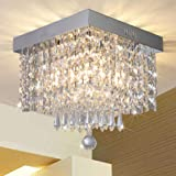 Modern Luxury Crystal Chandelier, Contemporary Raindrop Crystal Ball Square Chandelier Lighting Pendant Ceiling Lamp Flush Mo