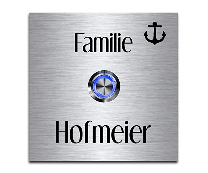 """Acero inoxidable timbre con grabado y LED """"hofmeier de chrisck Diseño koder –"""