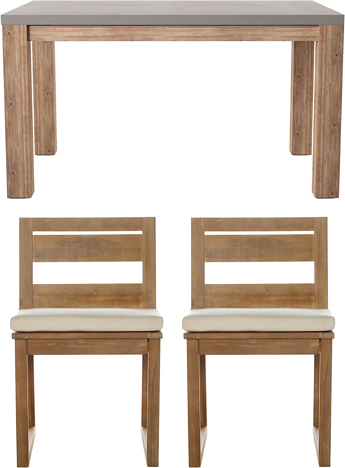 SEI Furniture AMZ207501DO Sarsden Outdoor Dining Set, Distressed Natural w/Ivory Cushions