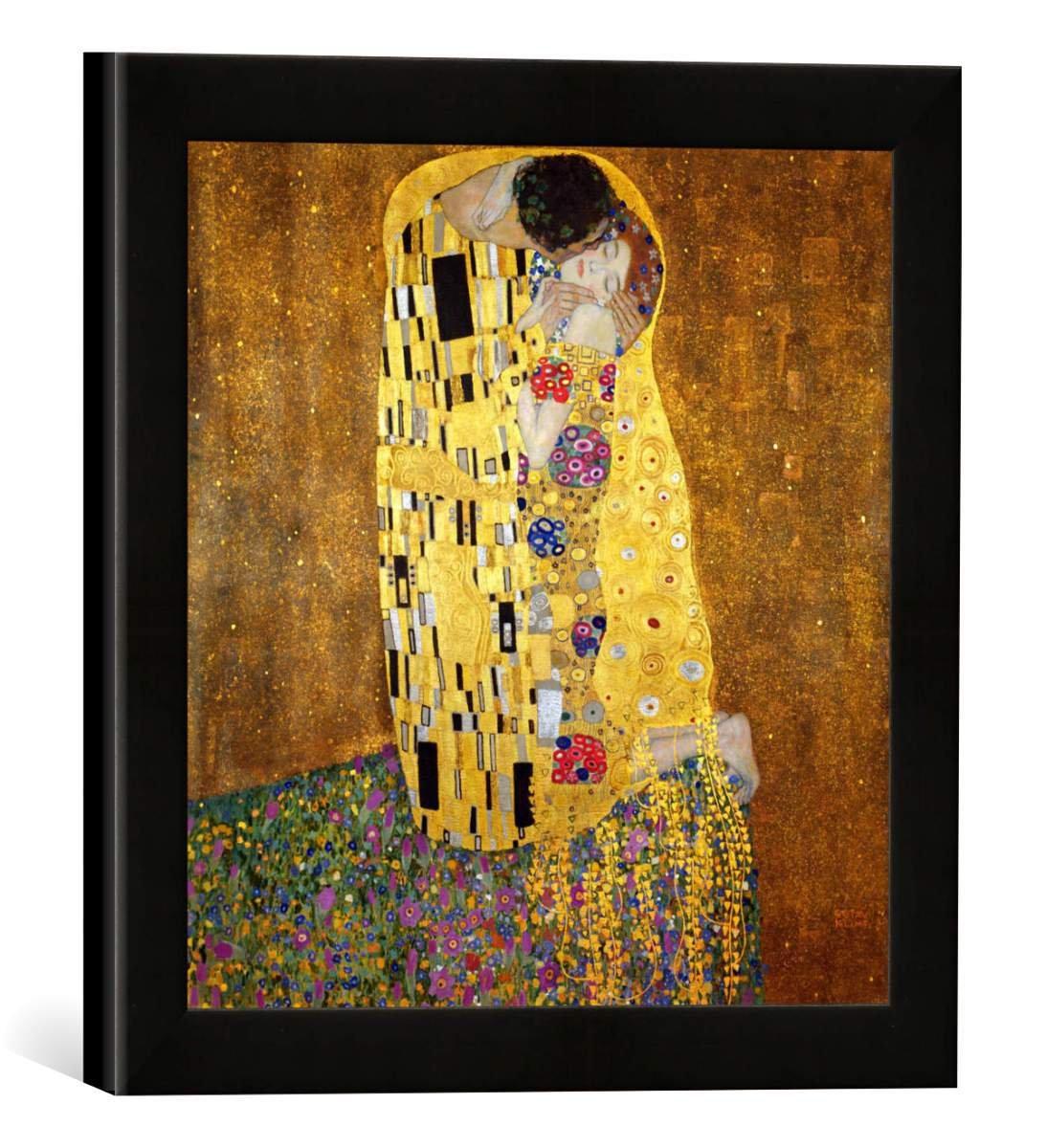 Gerahmtes Bild von Gustav Klimt Der Kuß, Kunstdruck im hochwertigen handgefertigten Bilder-Rahmen, 30x30 cm, Schwarz matt