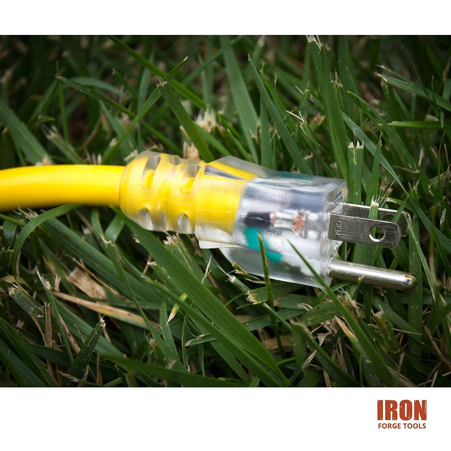 Great for Garden and Major Appliances Iron Forge Cable IFC-103Y25 25 Foot Lighted Outdoor Extension Cord 10//3 SJTW Yellow 10 Gauge Extension Cable with 3 Prong Grounded Plug for Safety