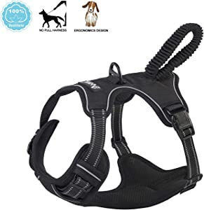 ANWA Dog Walking Harness No Pull, Adjustable Pet Reflective Soft Vest, Durable Dog Harness Control Handle Medium Black