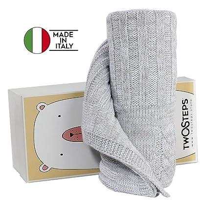 Twosteps Manta para bebé recién nacido - Combinación de lana merino - Estilo de ganchillo- Cálido, suave, ...