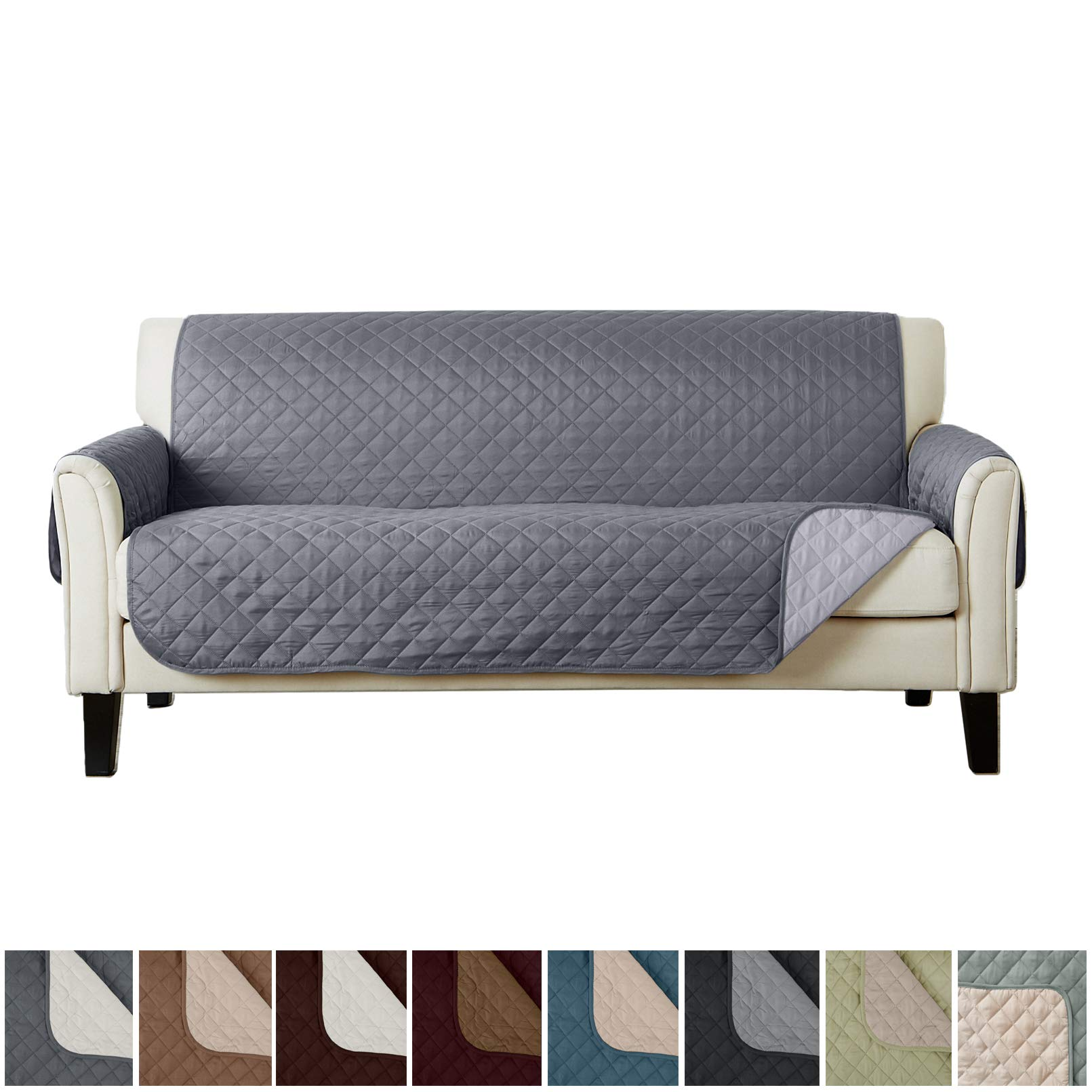 Home Fashion Designs Deluxe Reversible Quilted Furniture Protector. Perfect for Families with Pets and Kids. (Sofa/Couch, Light Grey/Dark Grey)