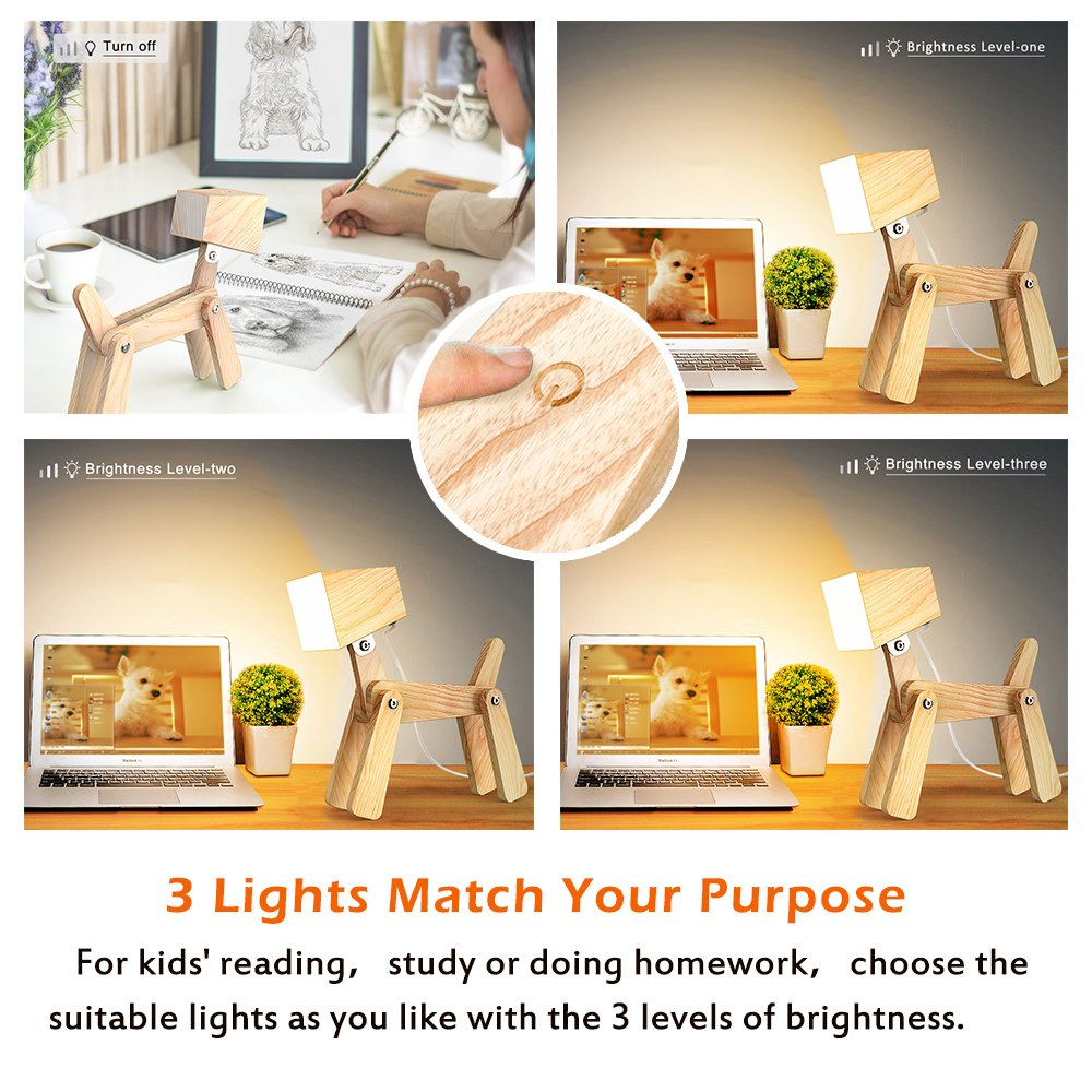 SUSIDUN Beside Reading Lamp, Design Adjustable Wooded Desk Table Lamp with Touch Switch,3 Dimming Brightness Levesl,Puppy Animal Night Light for Teens Bedroom Study 12v (Ash, Warm white light) by SUSIDUN (Image #4)
