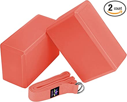Amazon Com Veda Yoga Foam Blocks Set Of 2 Plus Strap With Metal D Ring Standard Studio Size 9 X 6 X 4 Coral Sports Outdoors