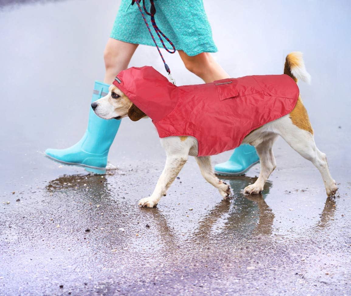 wasserdicht Idepet Hunde-Regenmantel mit Kapuze und Kragenloch mittelgro/ße und gro/ße Hunde reflektierend f/ür kleine