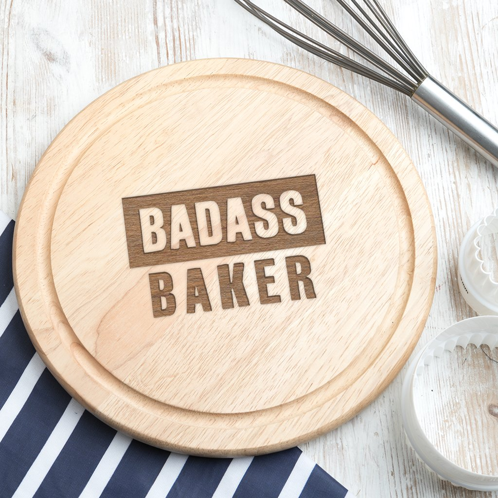 'Badass Baker' Funny Chopping Board - Funny Kitchen Gifts For Men And Women - Baking Gifts For Women And Men - Funny Kitchen Accessories - Funny Baking Gifts Dust and Things