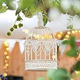 Cage Oiseaux Décorative Métal et Bois Blanc avec Crochet de Suspension - 26cm
