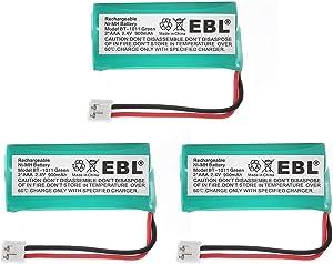 EBL 3 Pack 2.4V 900mah Rechargeable Handset Cordless Phone Batteries for BT-1011 BT-1022 BT-1018 BT-18433 BT-184342 and More
