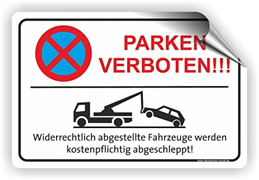 Fassbender-Druck SCHILDER Cartel Prohibido aparcar (Rojo ...
