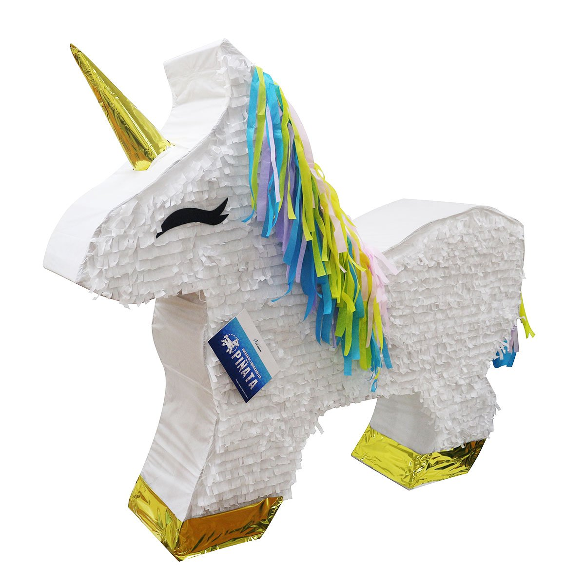 GIANT 4' White Unicorn Pinata w/Hair 40'' - Huge Mexican Piñata - Handmade in Mexico (Gigantic Sized)