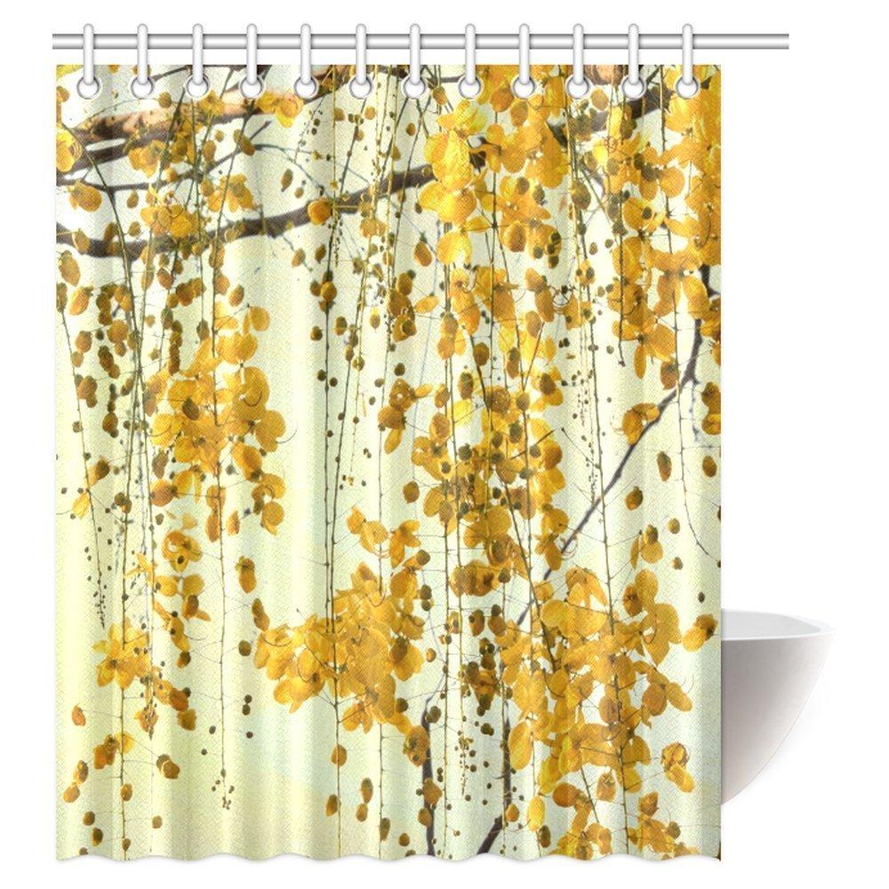 INTERESTPRINT Thailand Native Brilliant Yellow Flowers Shower Curtain Cassia Fistula Golden Tree Seeds Flower Fabric Bathroom