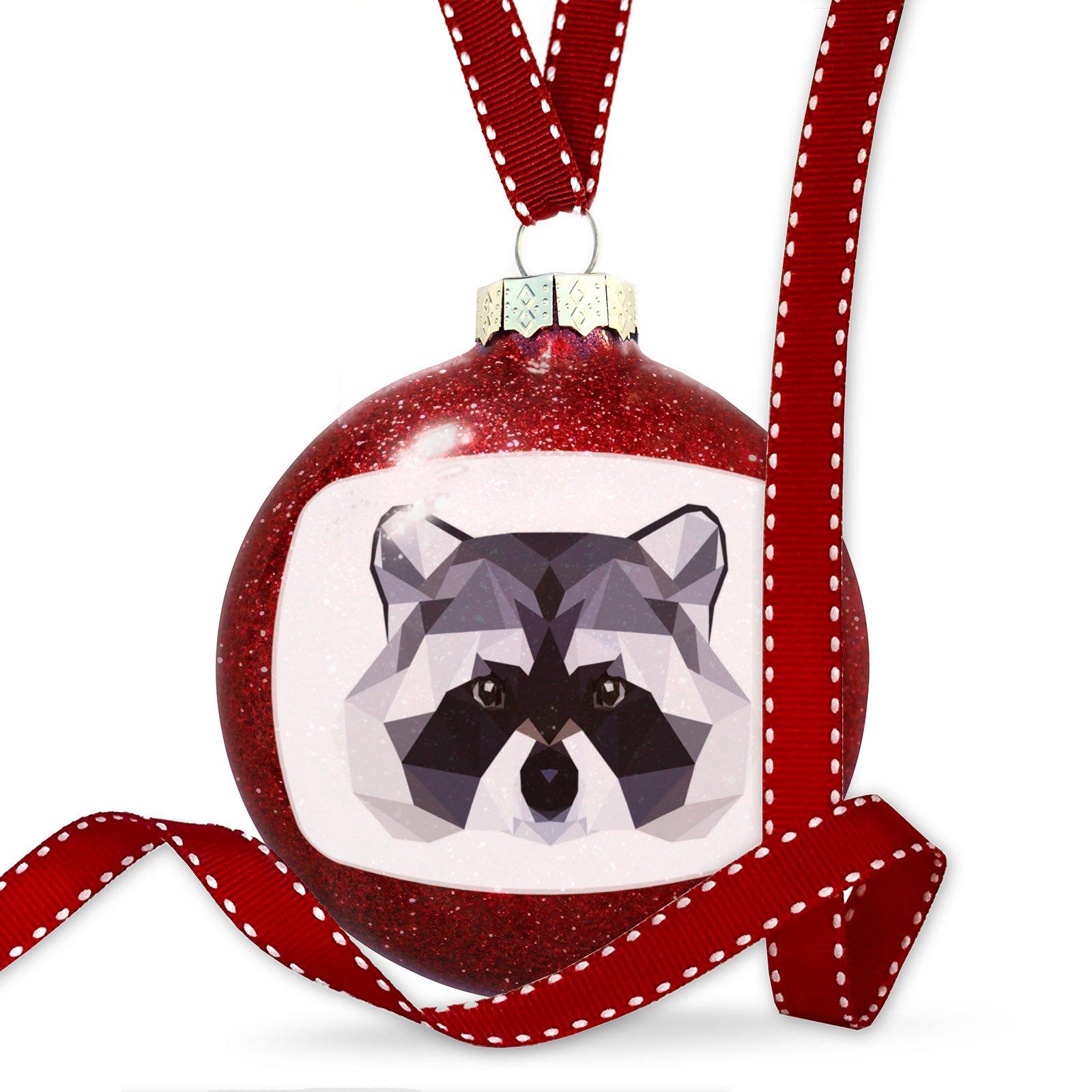 Christmas Decoration Geometric Animal art Raccoon Ornament by NEONBLOND