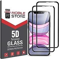 [2 Adet] mobile store 5D Glass iPhone 11 Ekran Koruyucu Tam Kaplayan Cam, iPhone XR ile Uyumludur
