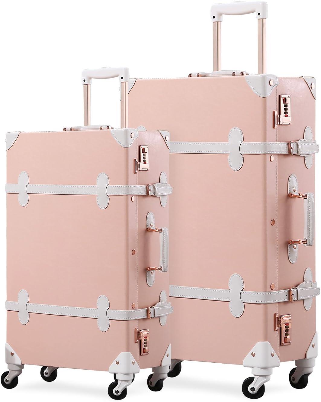 Unitravel Vintage Suitcase Set Spinner Travel Hardside Luggage Sets PU Trunk