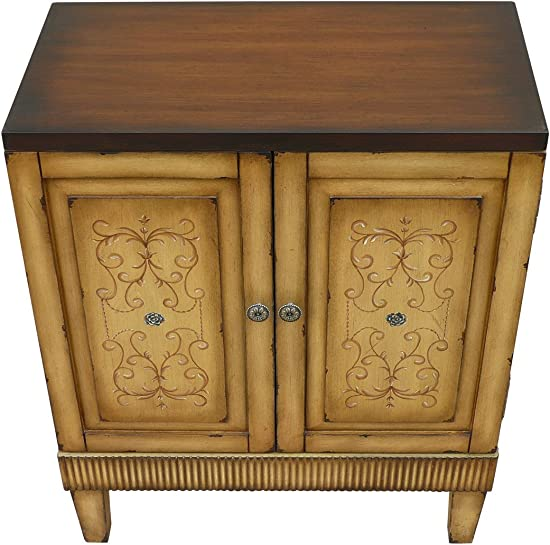 Lux Home Handpainted Distressed Accent Chest Natural
