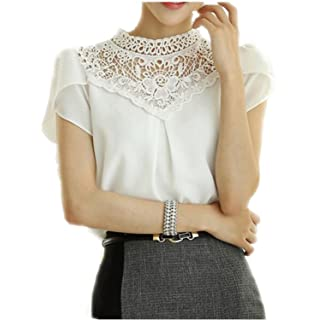 SDHEIJKY Summer Women Blouses Chiffon Shirt Stitching Lace Work Blouse