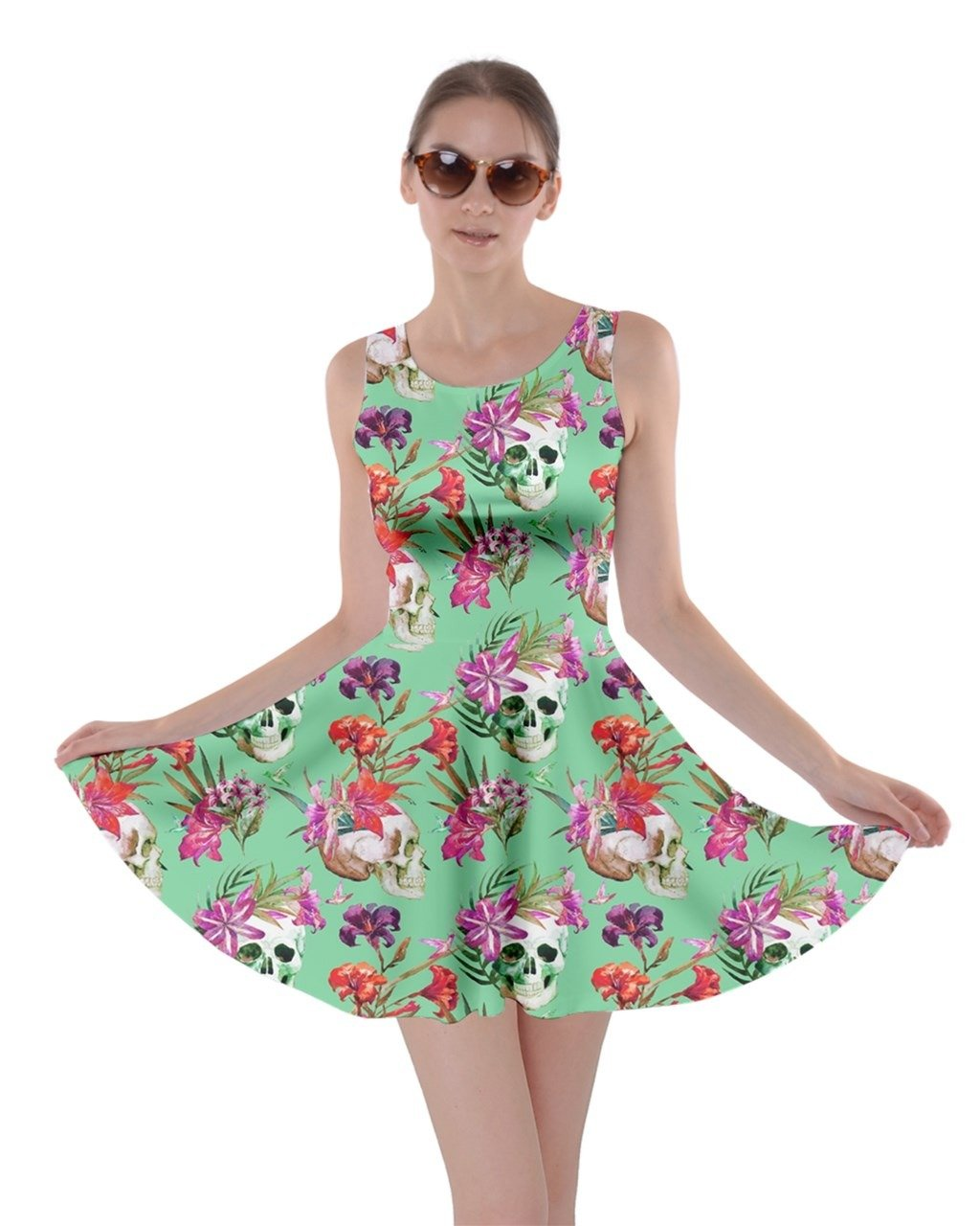 cfd7a7226114 Galleon - CowCow Light Green Skull And Flowers Skater Dress