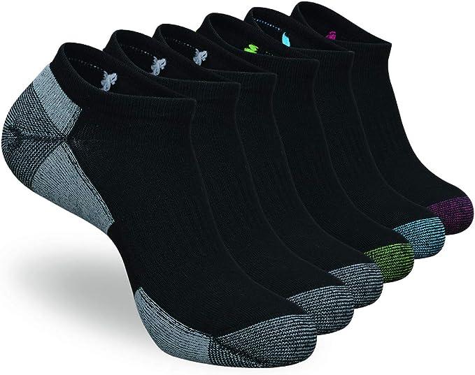 COOVAN Mens 6 Pack Athletic Low Cut Ankle Socks Quarter Performance Running Cushion Sock