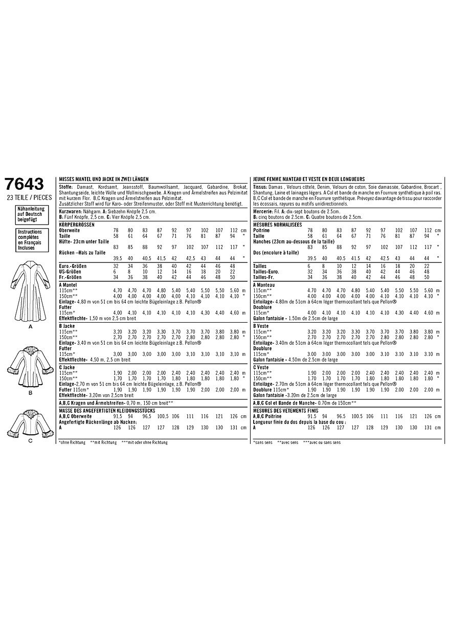 Simplicity Schnittmuster 7643.R5 Mantel und Jacke