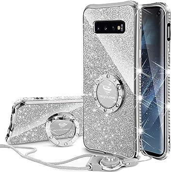 OCYCLONE Coque Samsung S10 Plus, Glitter Paillette Brillant Strass Coques Samsung Galaxy S10 Plus pour Fille Femme avec Bague Béquille, Coque Glitter ...