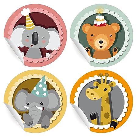 24 süße Geburtstags Aufkleber   Sticker mit Geburtstags Koala, Bär, Elefant und Giraffe, MATTE universal Papieraufkleber für