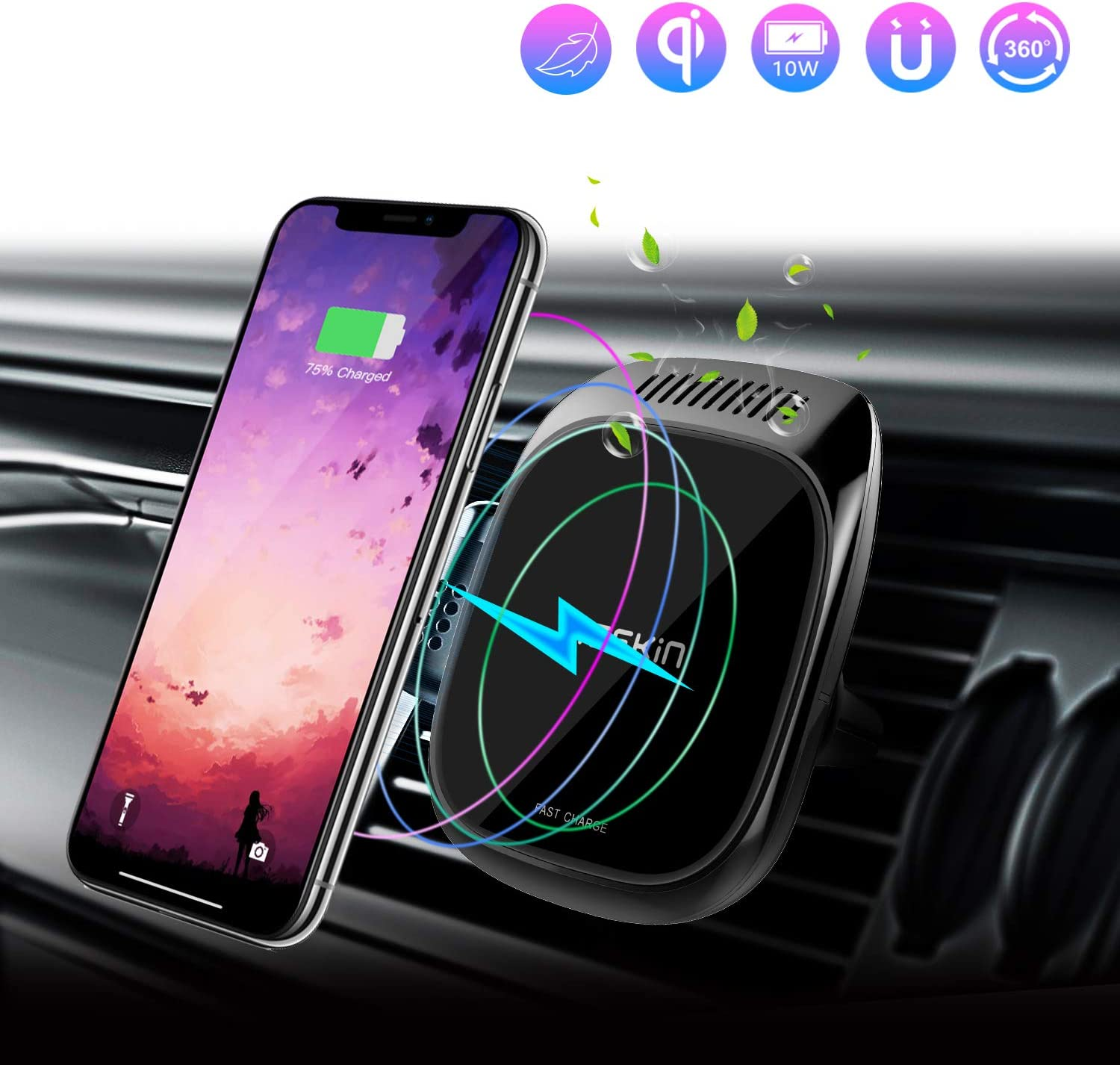 Nillkin Wireless Car Charger Mount, 3 in 1 Rotatable Magnetic Charging Car Phone Holder with Aroma Diffuser 5W/ 7.5W/10W Qi Fast Wireless Charger for iPhone XR/XS/X/8/8 Plus Galaxy S10/S10+/S9/S9+/S8